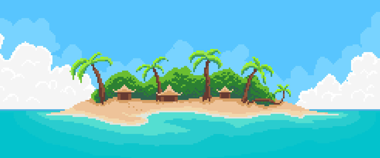 Tropical island palm trees 8 bit video game