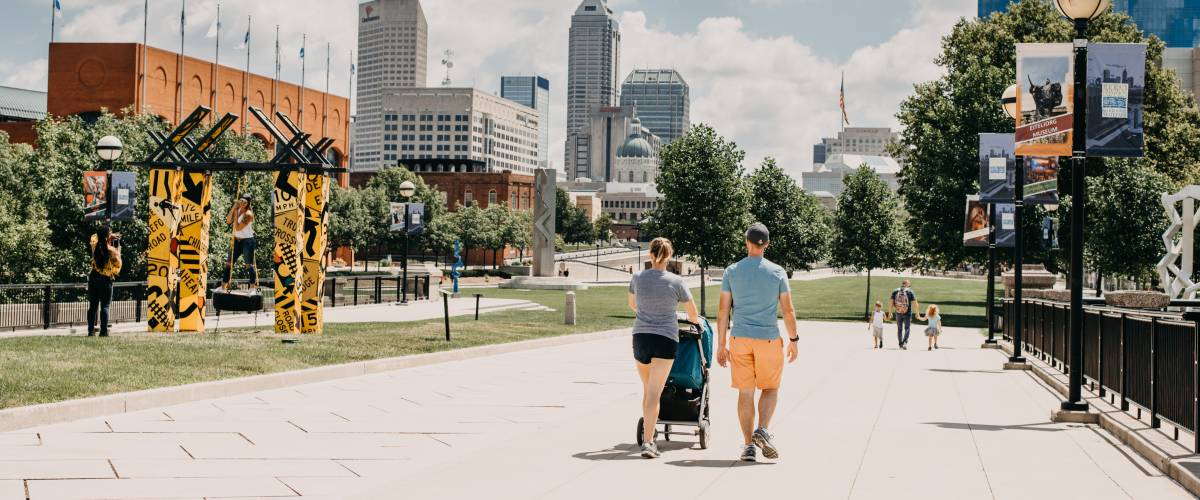 Family walking in downtown city