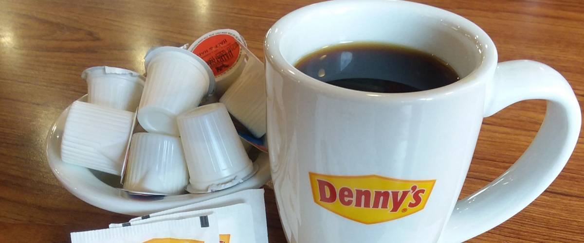 Coffee and creamers served at a Denny's restaurant in Murrieta, CA, Feb. 12, 2018.
