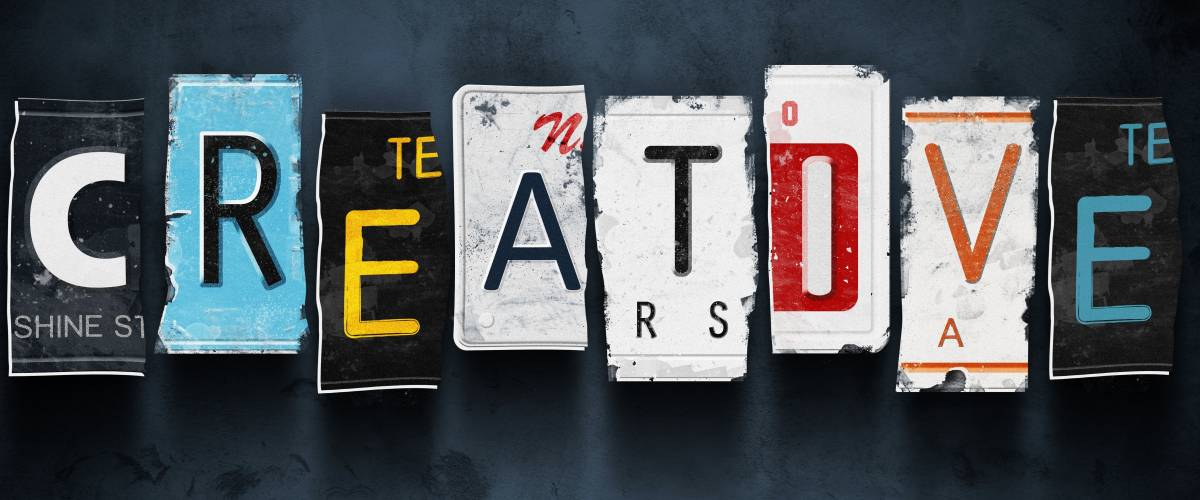 Creative word on vintage broken car license plates, concept sign