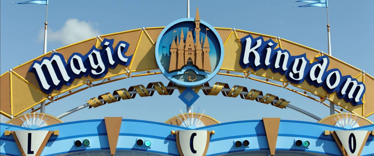 LAKE BUENA VISTA, FL - APRIL 18: A sign marks the entrance to the Magic Kingdom section of Walt Disney World on April 18, 2013. Walt Disney World is the worlds most visited theme park.