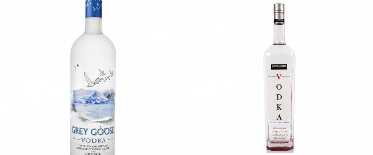 Grey Goose Vodka and Kirkland Signature Vodka
