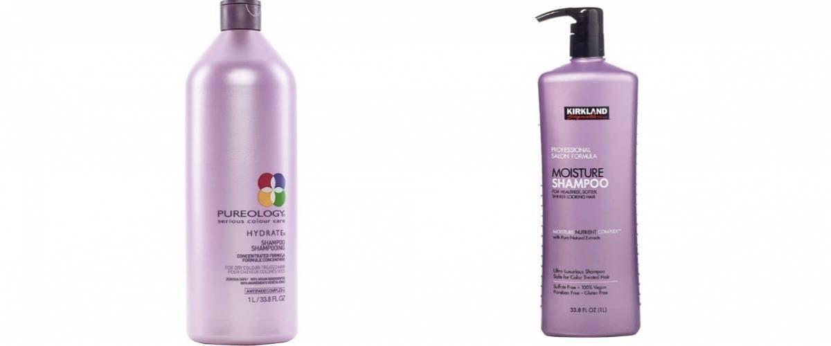 Pureology Shampoo and Kirkland Signature Shampoo