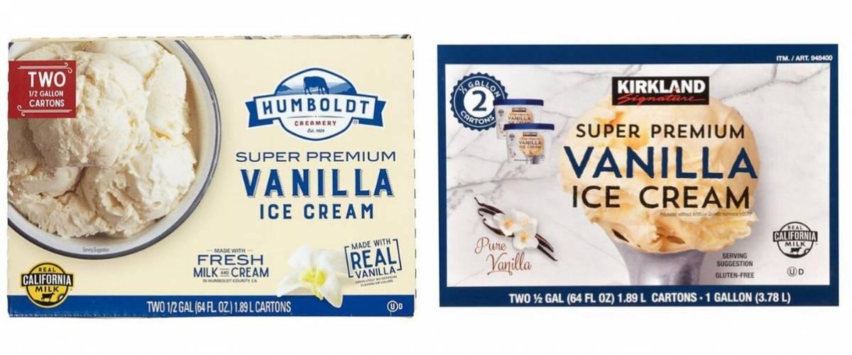 Humboldt Creamery Super Premium Vanilla Ice Cream and Kirkland Signature Super Premium Vanilla Ice Cream
