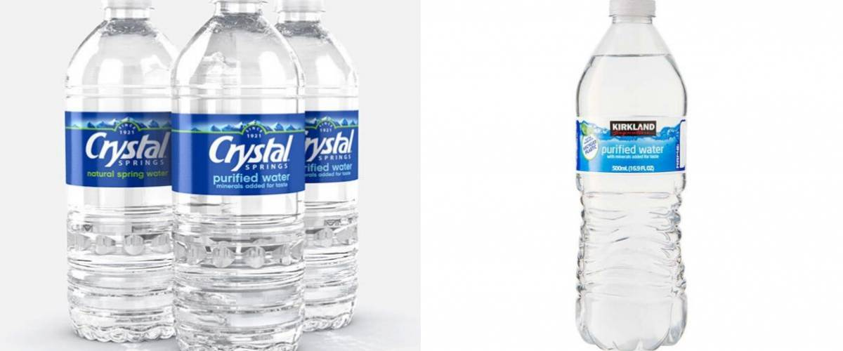 Crystal Springs water and Kirkland Signature water