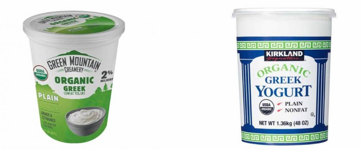Green Mountain Creamery Greek Yogurt and Kirkland Signature Greek Yogurt