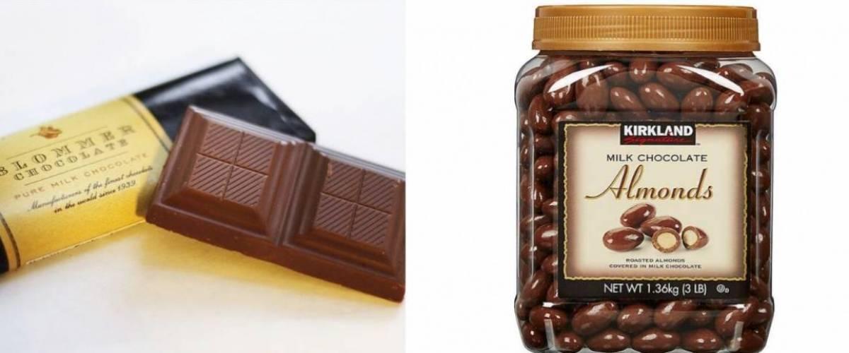 Blommer chocolate and Kirkland Signature milk chocolate almonds