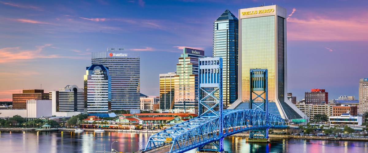 JACKSONVILLE, FLORIDA - FEBRUARY 5, 2015: Downtown Jacksonville skyline viewed over St. Johns River. The city is the largest in the state by population.