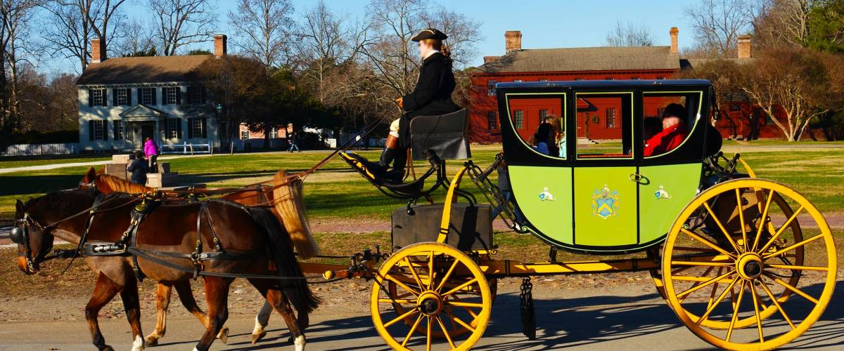 Horse and carriage in Williamsburg colonial town in Virginia in the United States of America