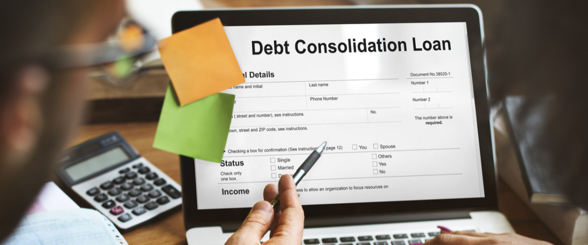Debt consolidation loan concept