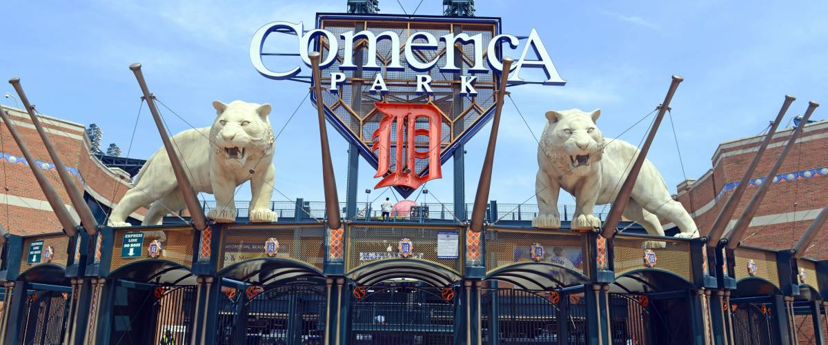 DETROIT, CIRCA MAY 2016. Marked by its signature tiger statues, Comerica Park is a baseball park which was part of the revitalization of Detroit and replaced Tiger Stadium in 2000.