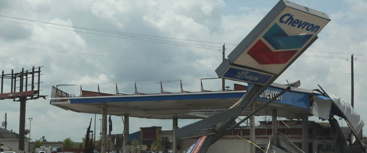 TUSCALOOSA, ALABAMA, U.S. - APRIL 2011: Mangled Chevron gas station in the aftermath of historic tornado that ravaged the southern United States on April 27, 2011 in Tuscaloosa, Alabama