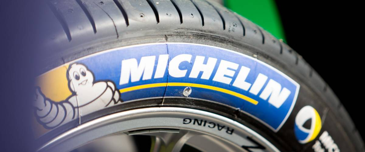 Berlin, Germany - May 20, 2016: Michelin tire on racing car wheel. Michelin is a French tire manufacturer based in France. It is one of the three largest tire manufacturers in the world