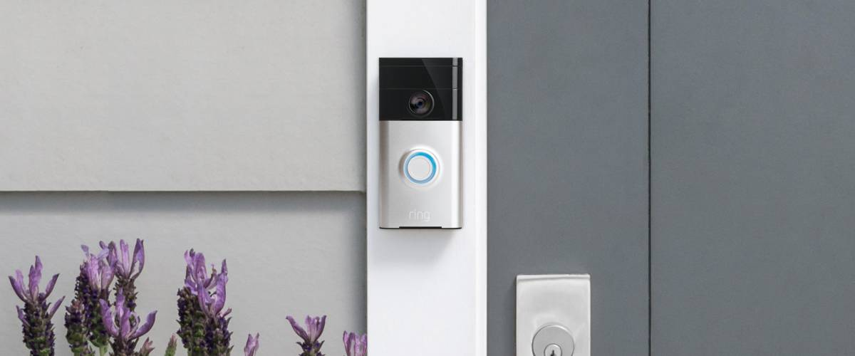 Ring video doorbell outside a home