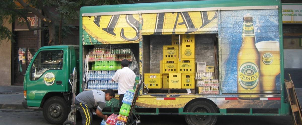 Cristal beer truck in Chile.