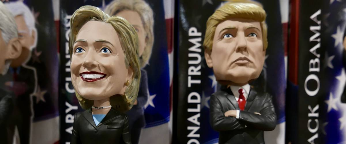 Las Vegas, USA-January 5, 2017: Bobbleheads of Trump and Clinton