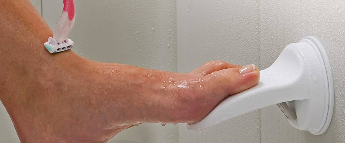 Safe-er Grip, a footrest for the shower