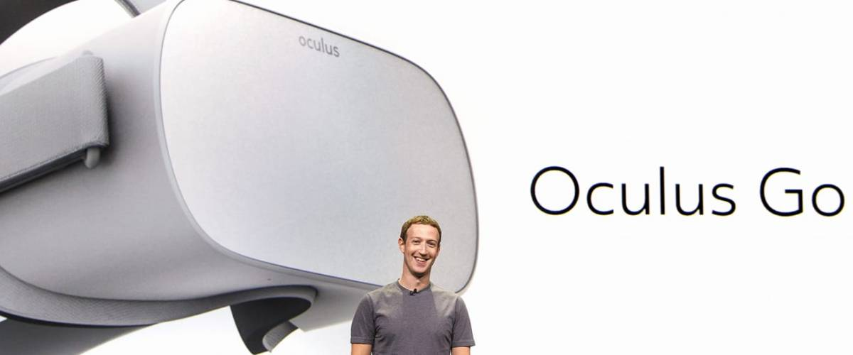 Mark Zuckerberg in October 2017 announcing the latest product from Facebook's Oculus unit.