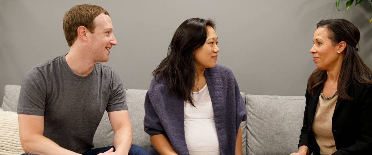 Mark Zuckerberg and Priscilla Chan with Peggy Abkemeier Alford, chief financial officer of the Chan Zuckerberg Initiative.