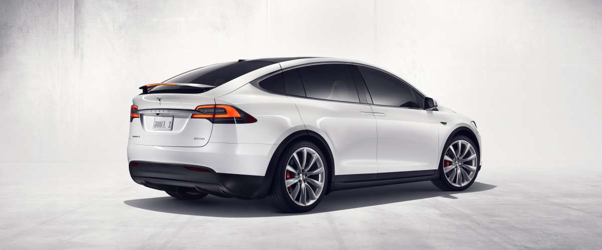 Tesla Model X with rear spoiler