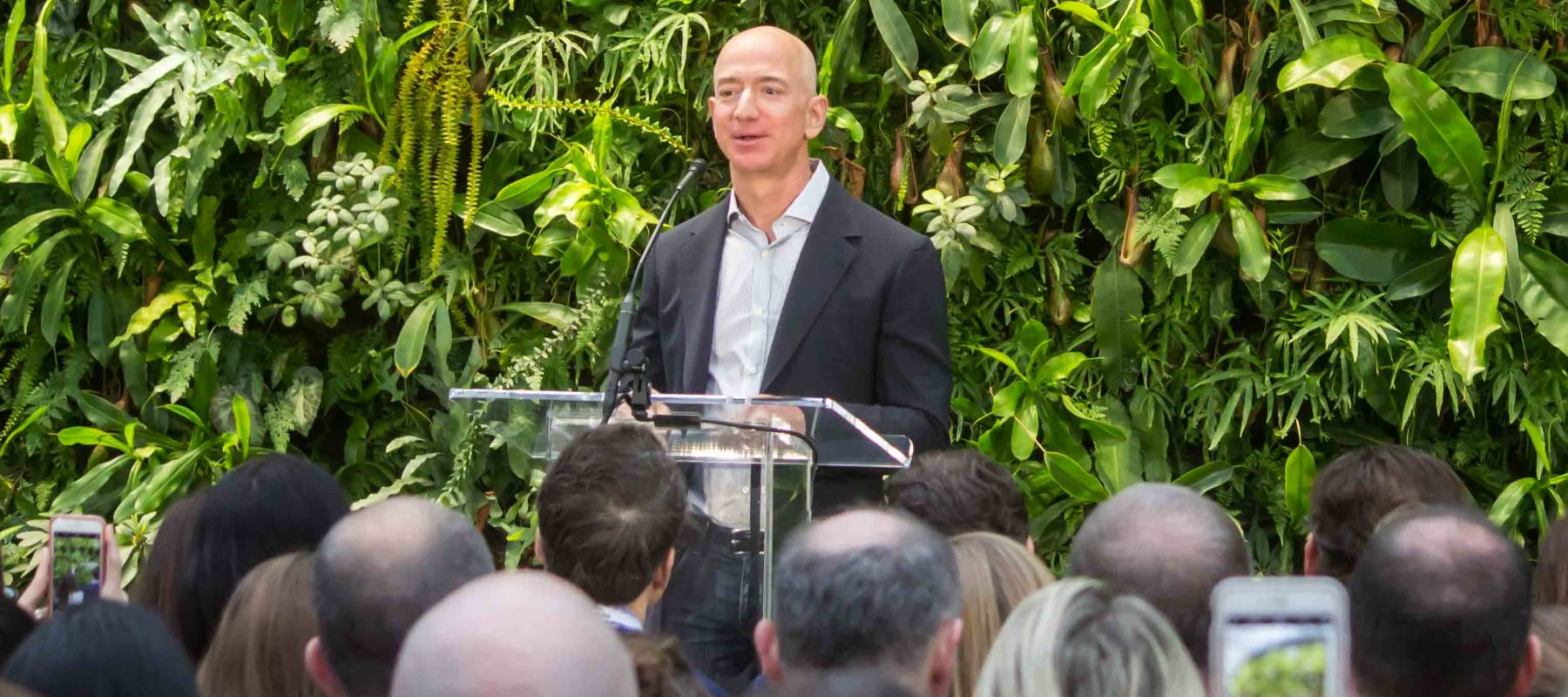 Jeff Bezos at Amazon Spheres Grand Opening in Seattle
