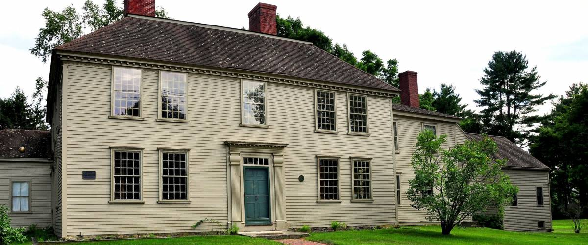 Weston, Massachusetts - July 11, 2015:  The historic Georgian 1768 Golden Ball Tavern, now fully restored and operated as a colonial-era museum