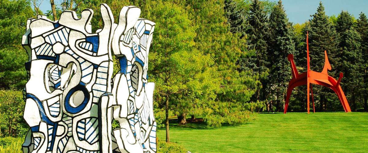 Purchase, NY, USA May 12, 2008 Jean Dubuffet's Kiosque l'evide graces the landscaped grounds of Pepsi Cola's world headquarters