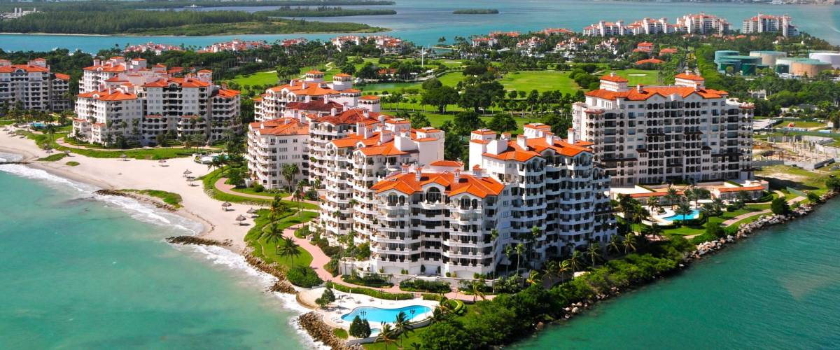 Aerial view of Fisher Island, Miami, Florida, USA