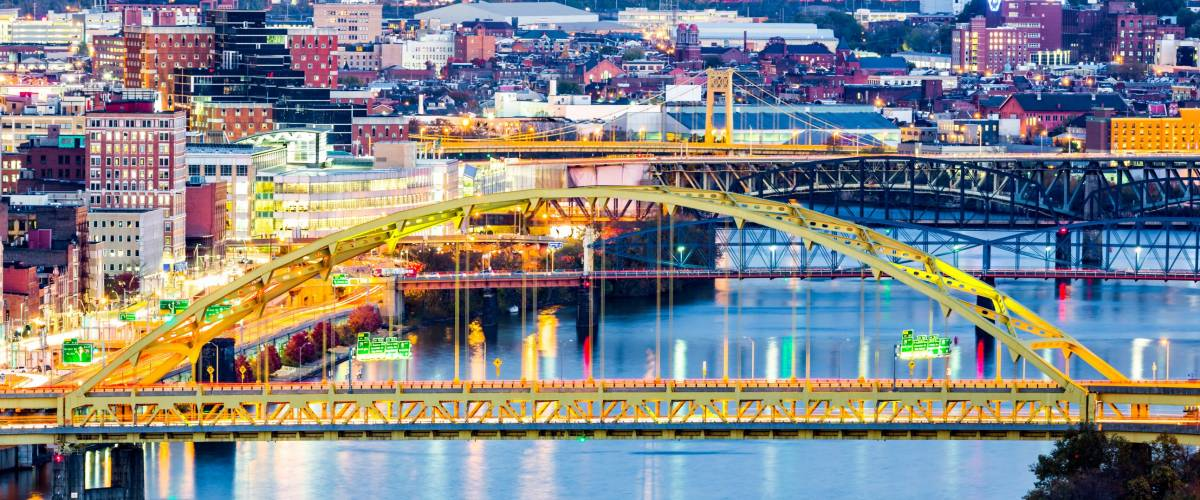 Fort Pitt Bridge spans Monongahela river in Pittsburgh, Pennsylvania.