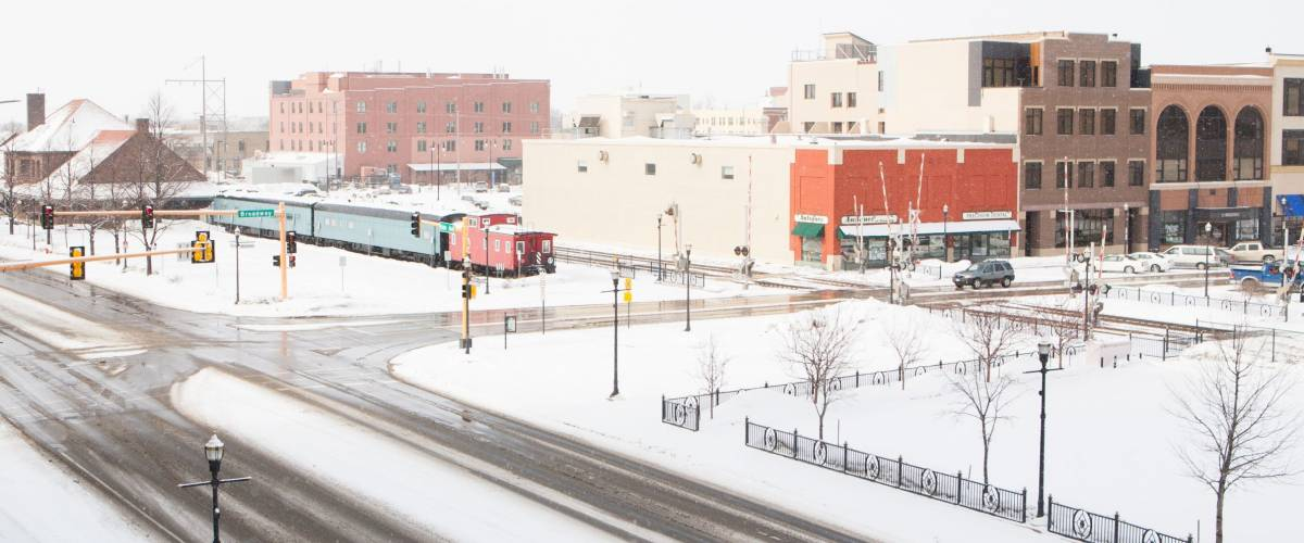 A snowstorm passes thru fargo, North dakota in winter.