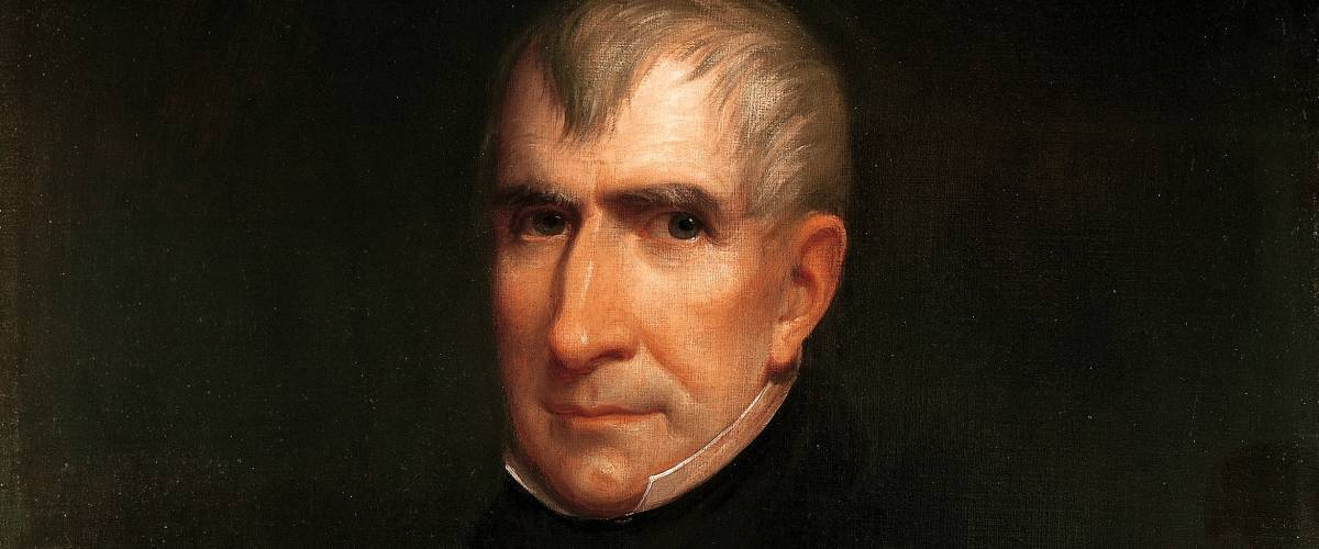 President William Henry Harrison official presidential portrait by James Lambdin. The White House Historical Association