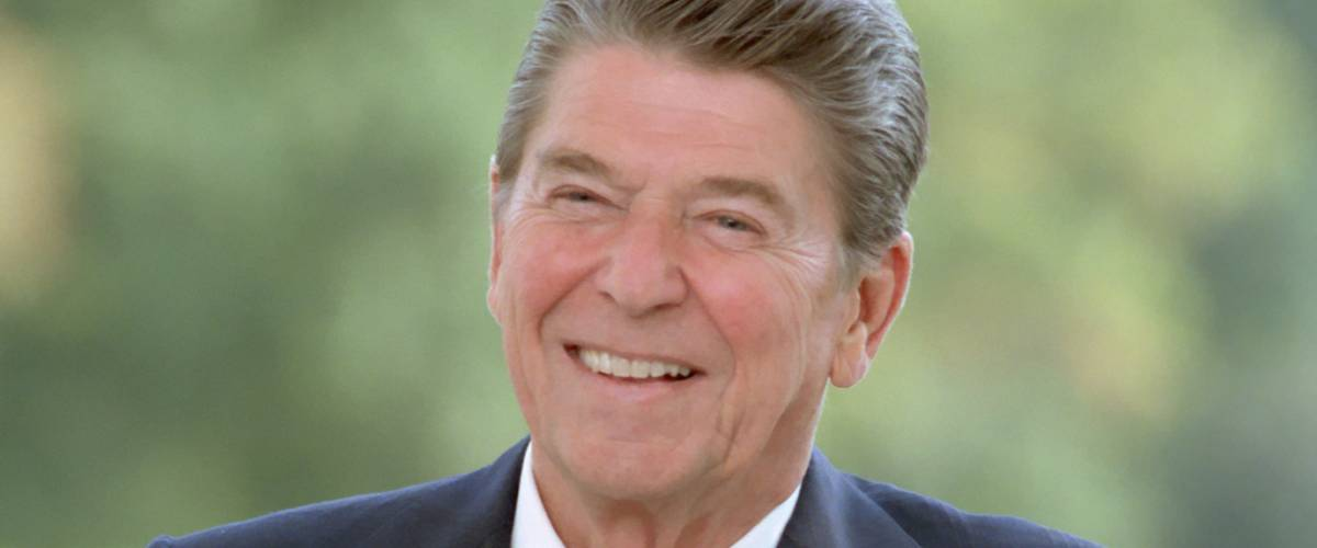 President Reagan poses at the White House, 1984.
