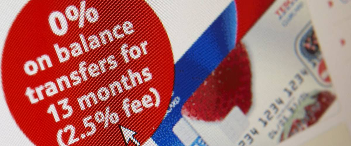 WEB SITE ON COMPUTER SCREEN SHOWING CREDIT CARD BALANCE TRANSFER, TAKEN IN CLECKHEATON, WEST YORKSHIRE, UK, 28TH FEBRUARY 2008