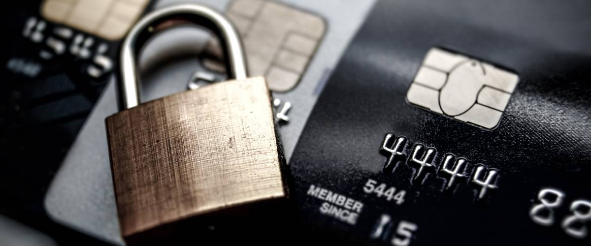 Padlock on credit cards