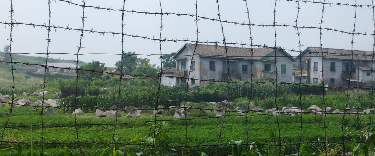 Buildings in the North Korean countryside close to the border with the South