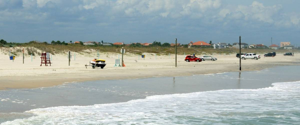 New Smyrna beach as seen from the rock jetty that juts out into the inlet.