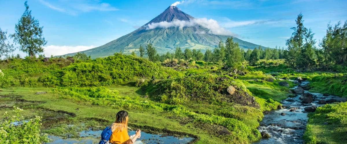 Mayon Volcano is an active stratovolcano in the province of Albay in Bicol Region, on the island of Luzon in the Philippines.
