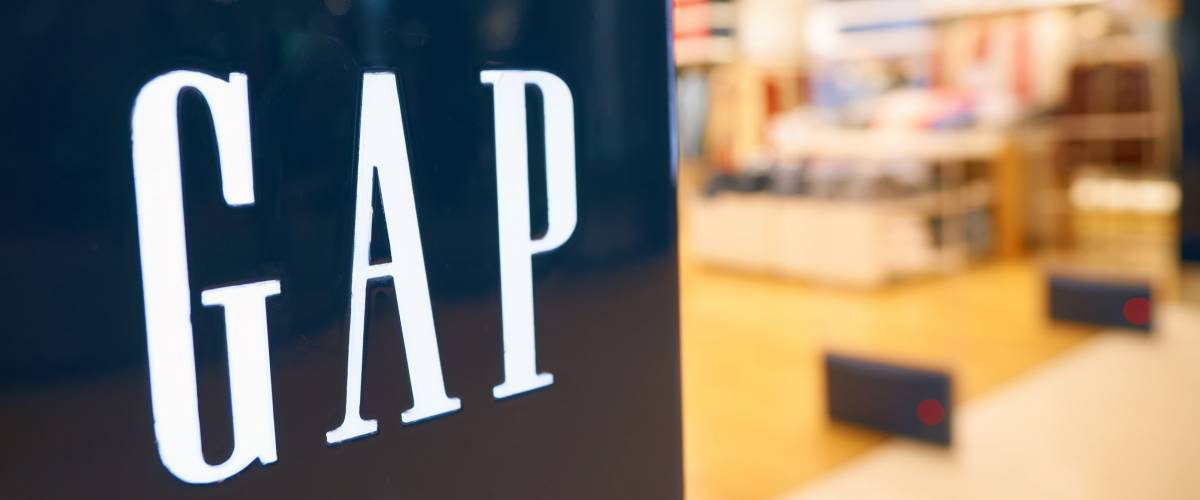 HONG KONG - CIRCA SEPTEMBER, 2016: close up shot of GAP sign in Hong Kong. GAP is an American worldwide clothing and accessories retailer.