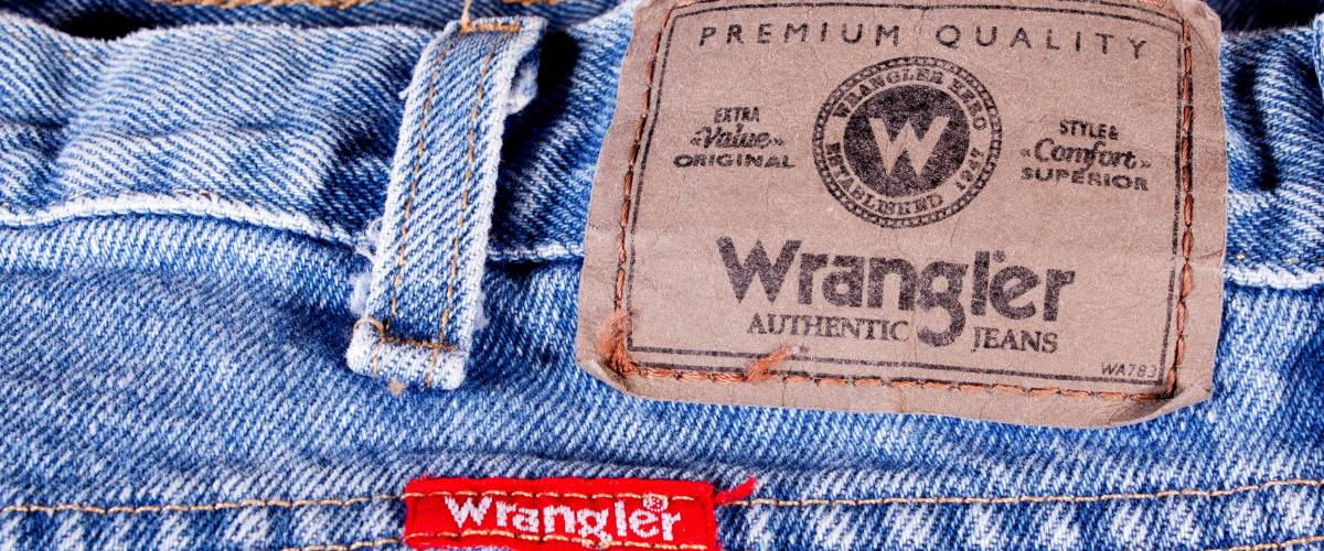 RIVER FALLS,WISCONSIN-JANUARY 20,2014: A pair of Wrangler jeans, The Wrangler brand is owned by VF Corporation of Greensboro, North Carolina.