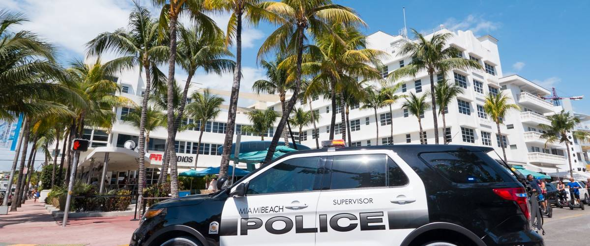 MIAMI, USA - MARCH 14, 2016: Police car in Ocean Drive in South Beach.