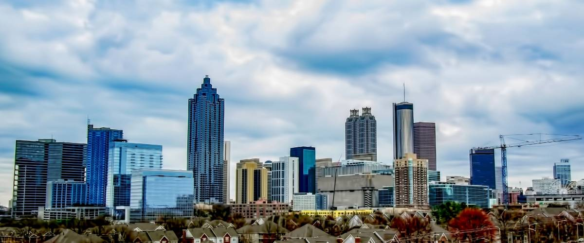 View of Downtown Atlanta skyline Cityscape on a Cloudy Day.