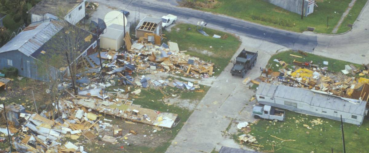 CIRCA 1992 - An aerial view of some damage caused by Hurricane Andrew