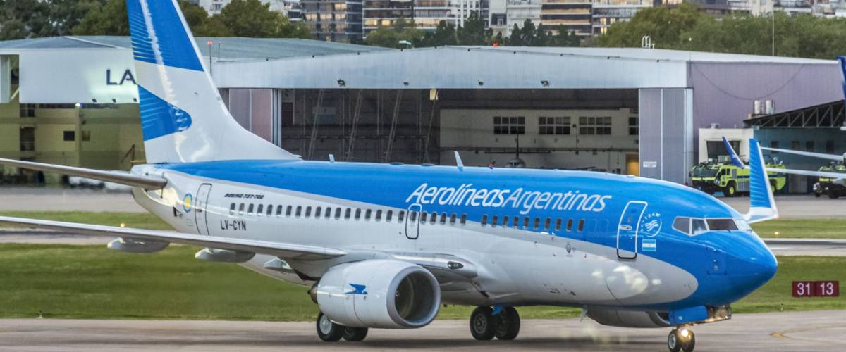 BUENOS AIRES, ARGENTINA - MAR 17: Aerolineas Argentinas plane taxiing at Jorge Newbery Airport on Mar 17, 2013 in Buenos Aires, Argentina.
