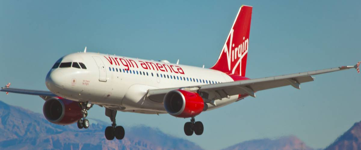 LAS VEGAS - NOVEMBER 12: A320 Virgin American lands on McCarran in Las Vegas.