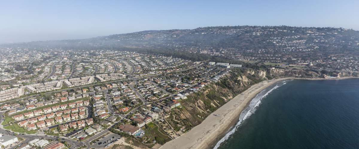 Aerial view of Torrance Beach and Rancho Palos Verdes in Los Angeles County, California