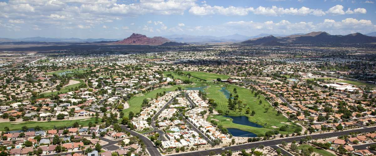 Beautiful golf course near Red Mountain in east Mesa, Arizona