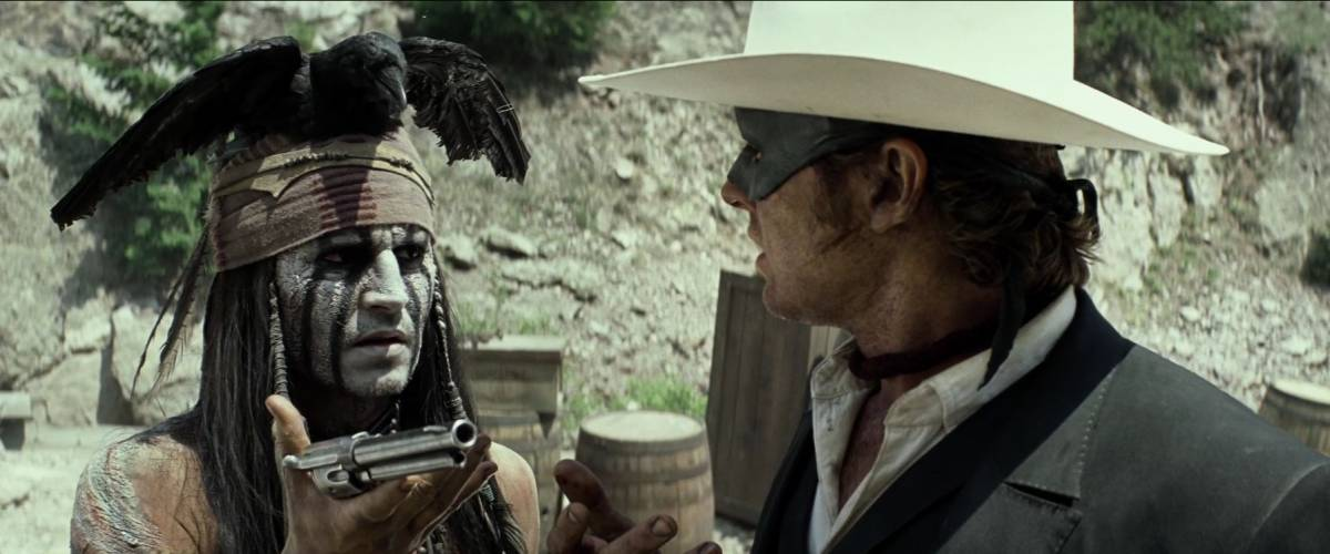 Johnny Depp and Armie Hammer in a scene from The Lone Ranger (2013)