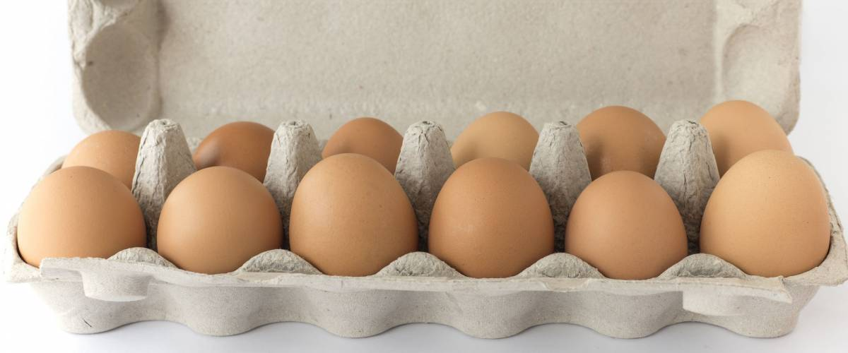Carton of twelve brown free range hen laid eggs.