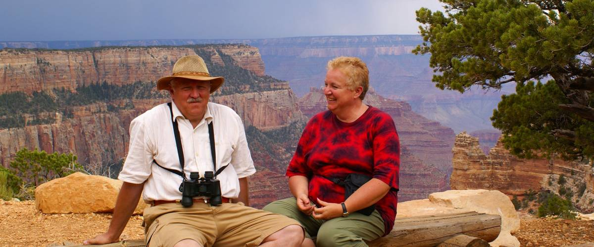Elderly couple in Grand Canyon National Park - North Rim