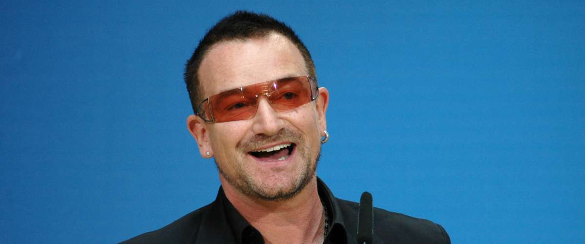 Bono (born Paul David Hewson), singer of the Band U2 smiles into the camera